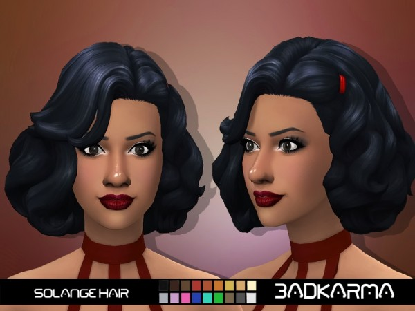 The Sims Resource: Solange hair retextured by BADKARMA for Sims 4