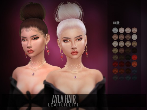 The Sims Resource: Ayla Hair by LeahLillith for Sims 4
