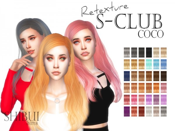 The Sims Resource: S club`s CoCo n21B hair retextured by Shibui Sims for Sims 4