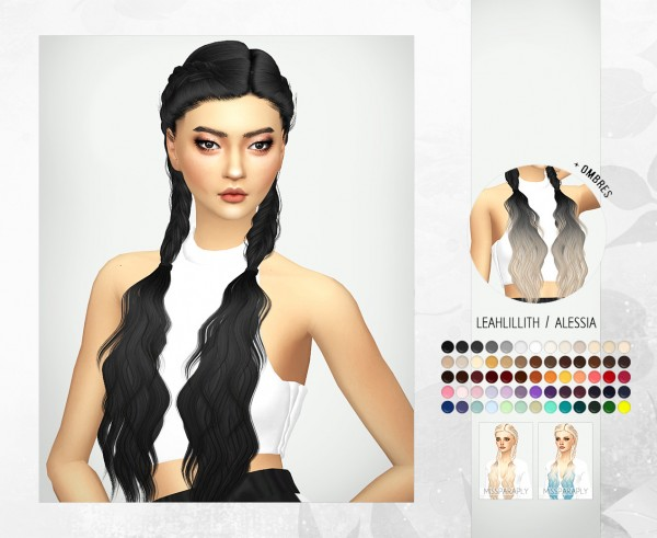 Miss Paraply: LeahLillith`s Alessia hair retextured for Sims 4