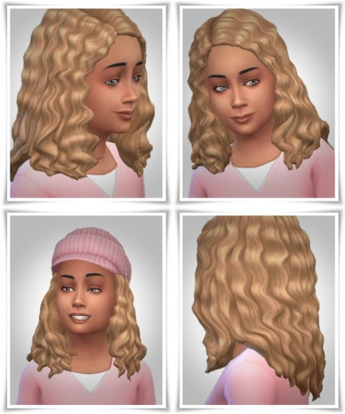 Birksches sims blog: Kids Long Curls hair retextured for Sims 4