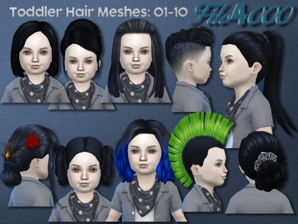 The Sims Resource: Toddler Hair Meshes 01 10 by filo4000 for Sims 4