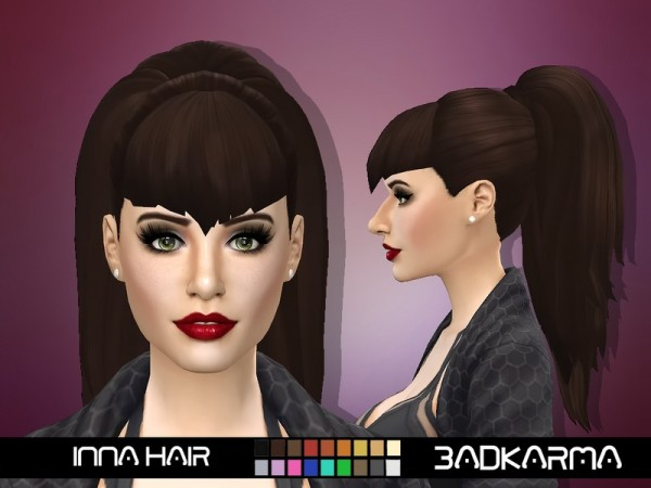 The Sims Resource: Inna Hair retextured by BADKARMA for Sims 4