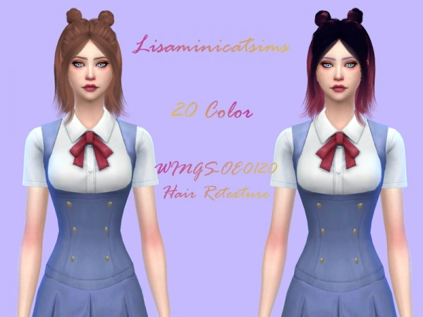 The Sims Resource: WINGS OE0120 hair Retextured by Lisaminicatsims for Sims 4