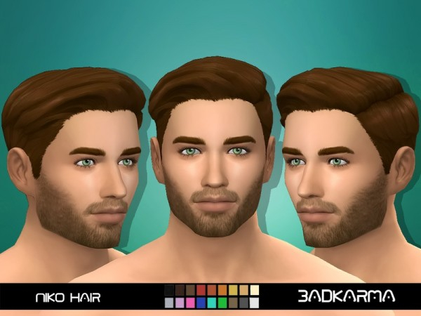 The Sims Resource: Niko Hair retextured by BADKARM for Sims 4