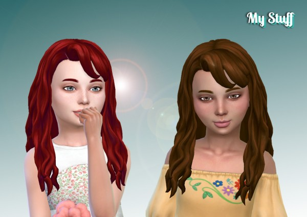 Mystufforigin: Daisy Hair retextured V2 for Girls for Sims 4
