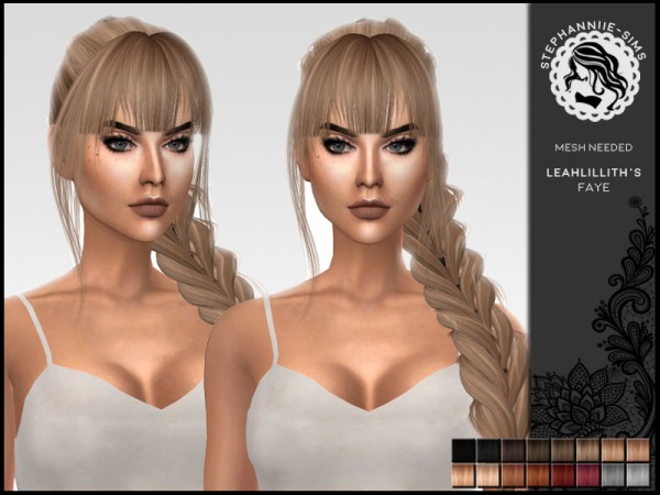 The Sims Resource: Leahlillith`s Faye hair retextured by Stephanniie Sims for Sims 4
