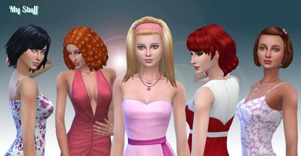 Mystufforigin: Medium Hair Pack 9 for Sims 4