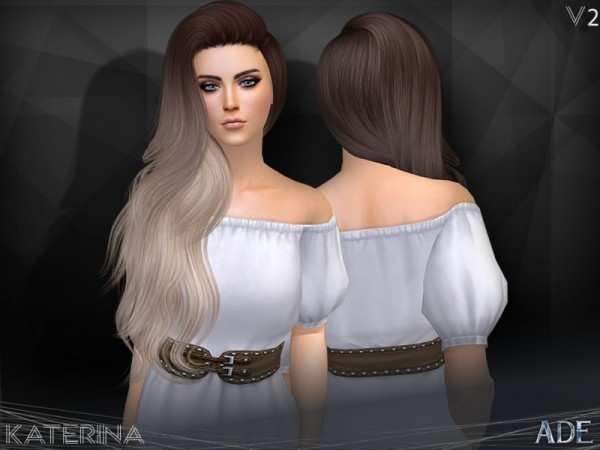 The Sims Resource: Katerina hair V2 by Ade Darma for Sims 4