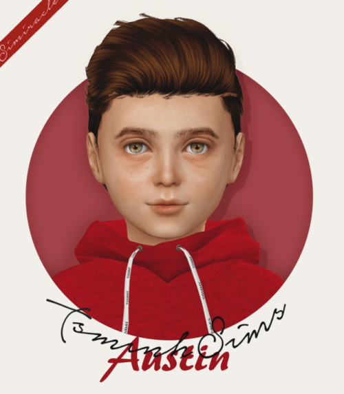 Simiracle: Tsminh`s Austin hair retextured   Kids and Toddlers version for Sims 4