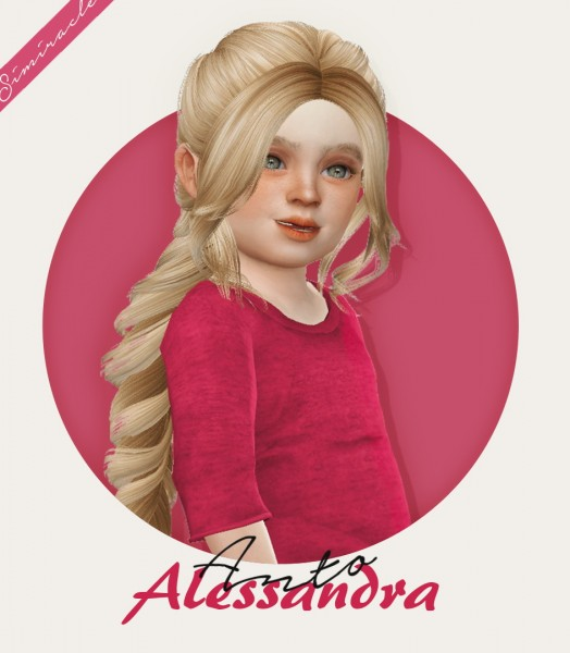 Simiracle: Anto`s Alessandra hair retextured   Kids and Toddlers version for Sims 4