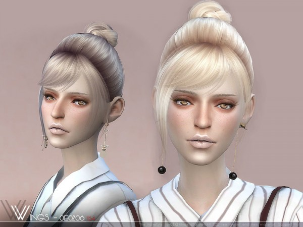 The Sims Resource: WINGS OE0206 hair for Sims 4