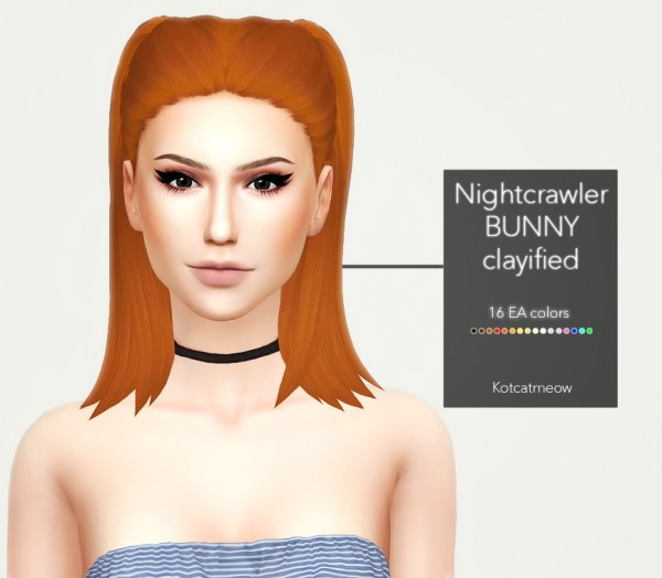 Kot Cat: Nightcrawler`s Bunny Hair Clayified for Sims 4