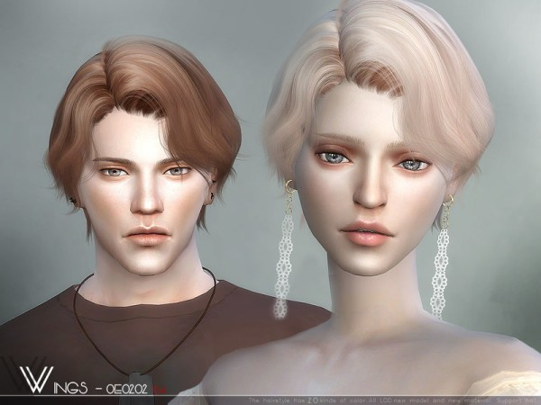 The Sims Resource: WINGS OE0202 hair for Sims 4