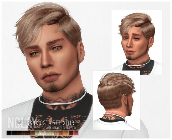 Mod The Sims: WINGS OS0214 hair retextured by Nolay for Sims 4