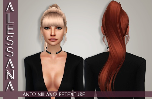 Alessana Sims: Anto`s Milano hair retextured for Sims 4