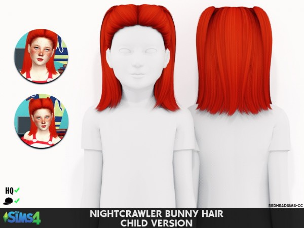 Coupure Electrique: Nightcrawler`s Bunny Hair retextured for Sims 4