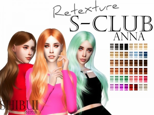 The Sims Resource: S club`s Anna n10 hair retextured by for Sims 4