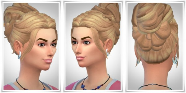 Birksches sims blog: Romantic bun hair for Sims 4