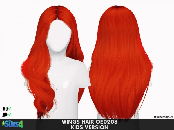 Coupure Electrique: Wings oe0208 hair retextured  kids version for Sims 4