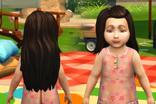 Mystufforigin: Melanie Hair retextured for toddlers for Sims 4