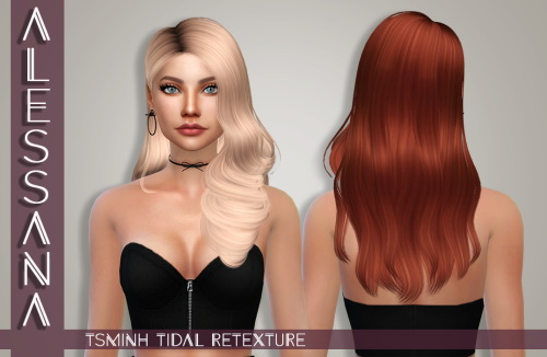 Alessana Sims: Tsminh`s Tidal hair retextured for Sims 4
