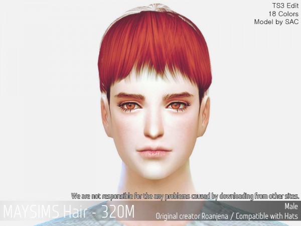 MAY Sims: MAY 320M hair retextured for Sims 4