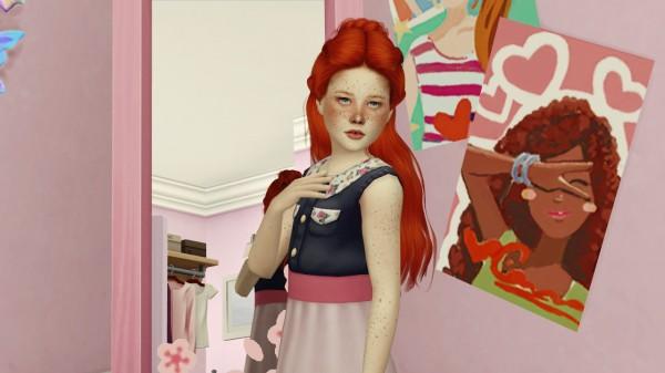 Coupure Electrique: Wings hair ETS1123 retextured   kids version for Sims 4