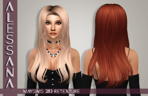 Alessana Sims: MaySims 283F hair retextured for Sims 4