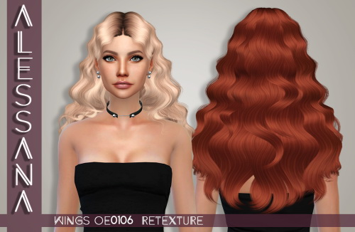 Alessana Sims: Wings oe0106 hair retextured for Sims 4