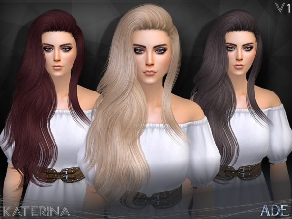 The Sims Resource: Katerina hair V1 by Ade Darma for Sims 4