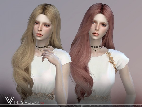 The Sims Resource: WINGS OE0208 hair for Sims 4