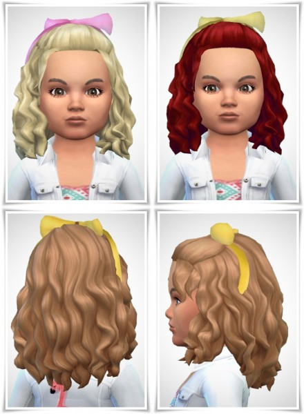 Birksches sims blog: Mary's Curls with Bow hair for Sims 4