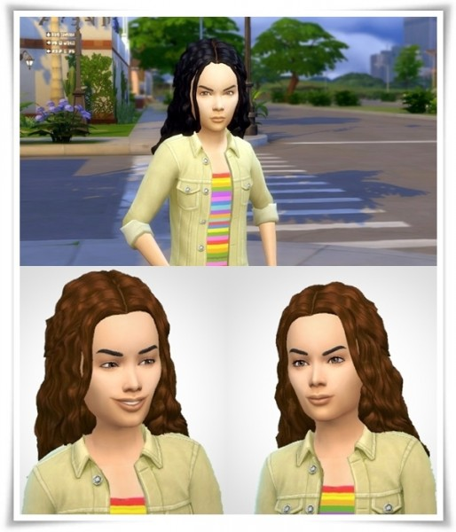 Birksches sims blog: Girlys Halfup Curls hair for Sims 4