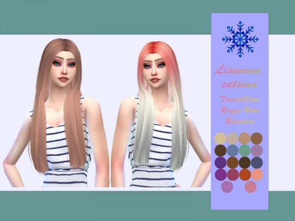 The Sims Resource: Tsminh`s Rayza Hair Retextured by Lisaminicatsims for Sims 4