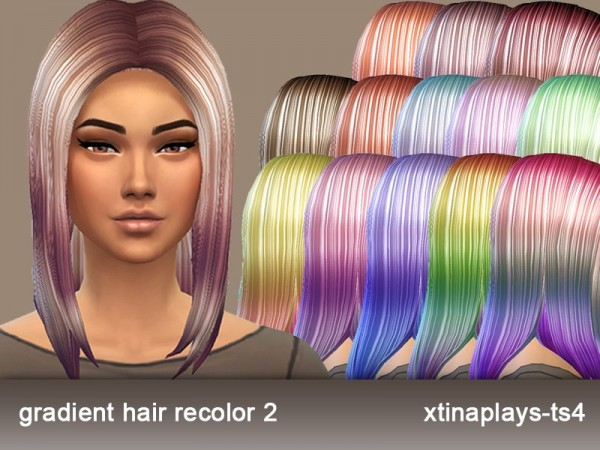 The Sims Resource: Gradient Hair Recolor 2 by xtinaplays ts4 for Sims 4