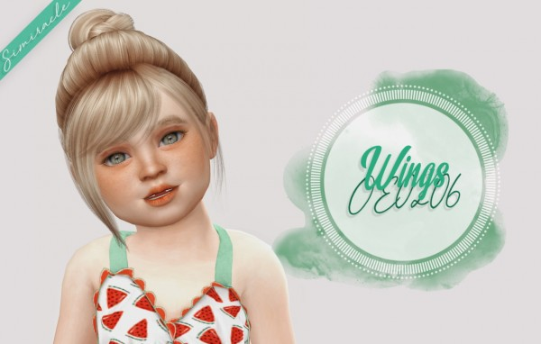 Simiracle: Wings OE0206 hair retextured   Toddler Version for Sims 4