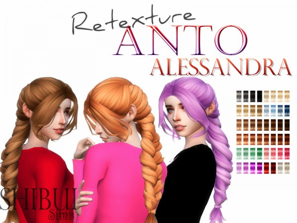 The Sims Resource: Anto`s Alessandra hair retextured by Shibui Sims for Sims 4