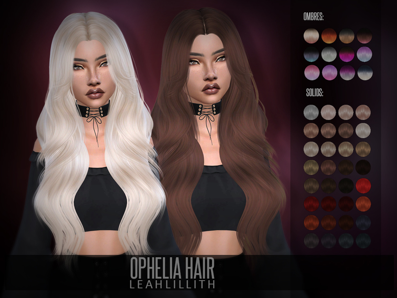 The Sims Resource Ophelia Hair By Leah Lillith Sims 4 Hairs