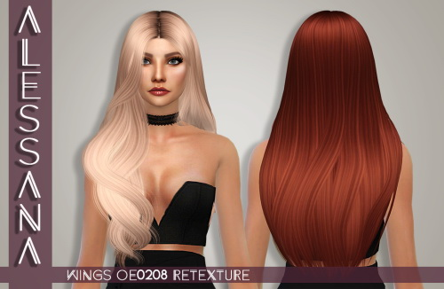 Alessana Sims: Wings OE0208 hair retextured for Sims 4