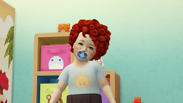 Coupure Electrique: Med curl hair retextured  toddlers version for Sims 4