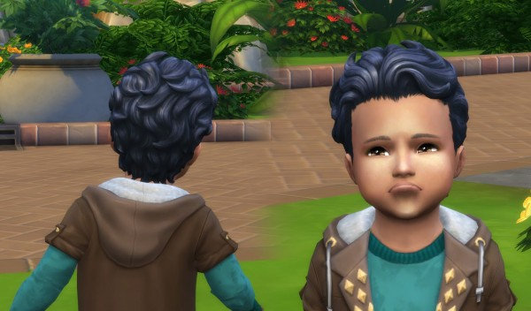 Mystufforigin: Swept Back Wavy hair retextured for Toddlers for Sims 4
