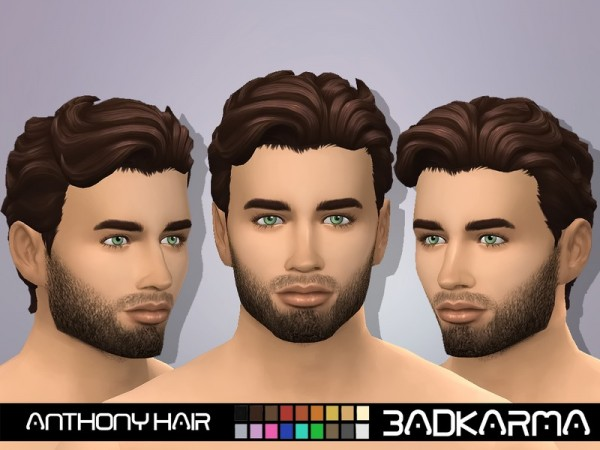 The Sims Resource: Anthony Hair by BADKARMA for Sims 4