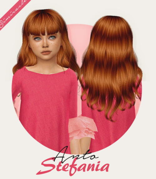 Simiracle: Anto`s Stefania hair retextured   Kids Version for Sims 4