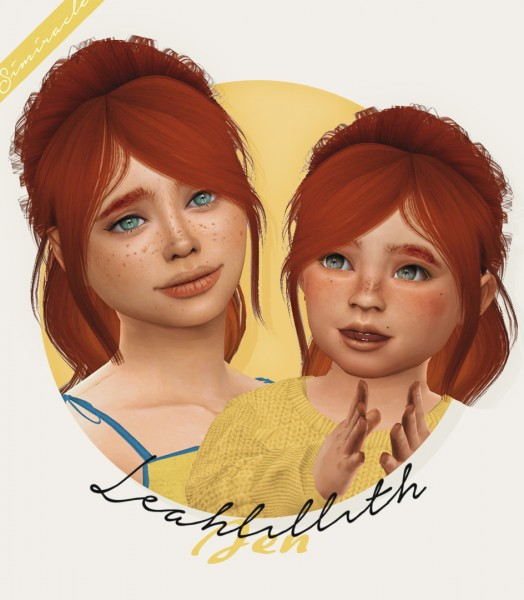 Simiracle: LeahLillith`s Jen hair retetured   kids and toddlers version for Sims 4