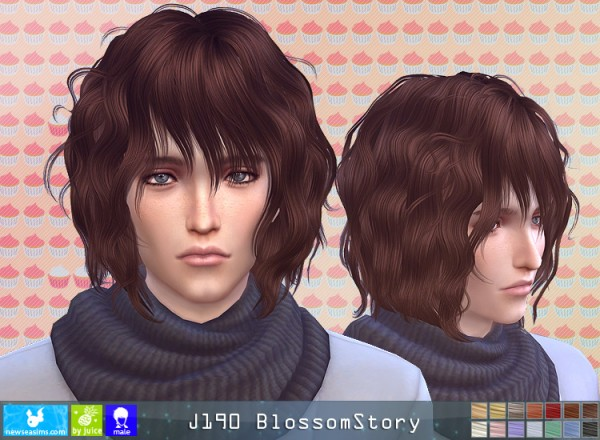 NewSea: J190 Blossom Story hair for him for Sims 4