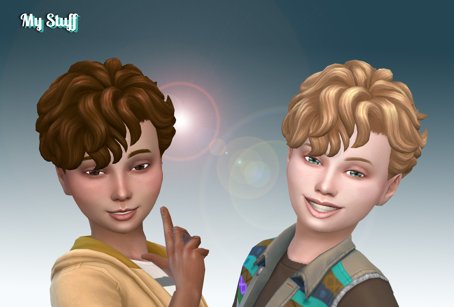 Mystufforigin Mid Curly Hai Retextured For Boys Sims 4