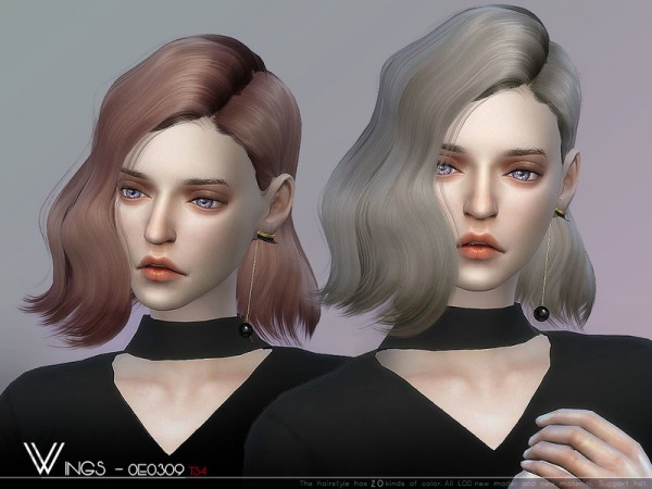 The Sims Resource: WINGS OE0309 hair for Sims 4