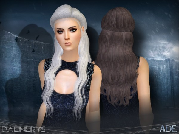 The Sims Resource: Daenerys hair by Ade Darma for Sims 4
