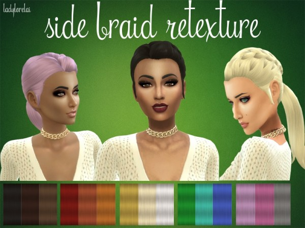 The Sims Resource: Side Braid Hair Retextured by LadyLorelai for Sims 4